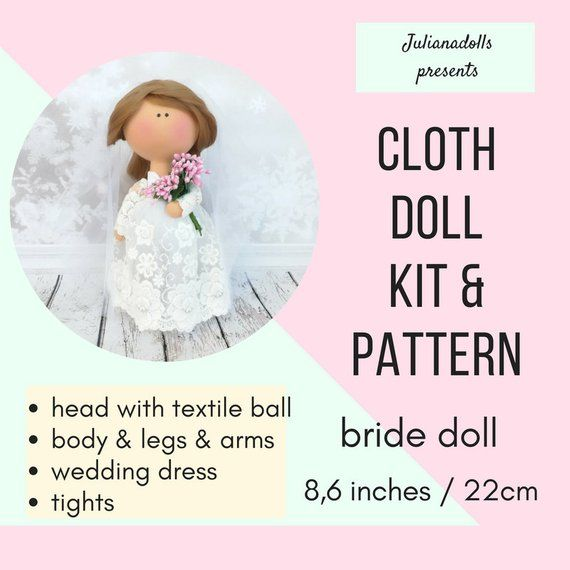 Bride doll sewing kit cloth doll kit rag doll kit textile doll kit bridal shower gift tilda doll kit Russian doll DIY fabric doll sewing kit #bridedolls