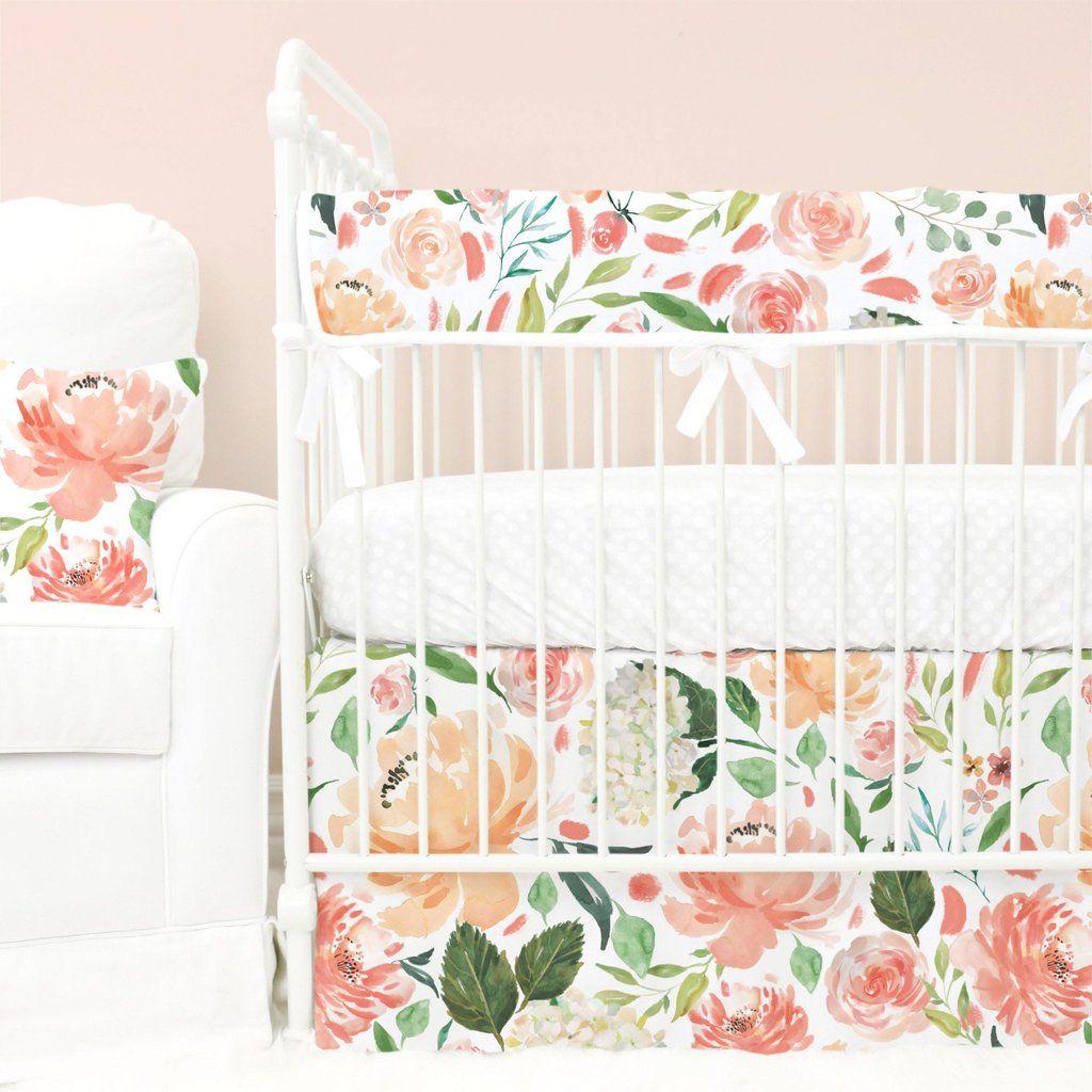 Secret Garden Peach Watercolor Floral Bumperless Crib Bedding