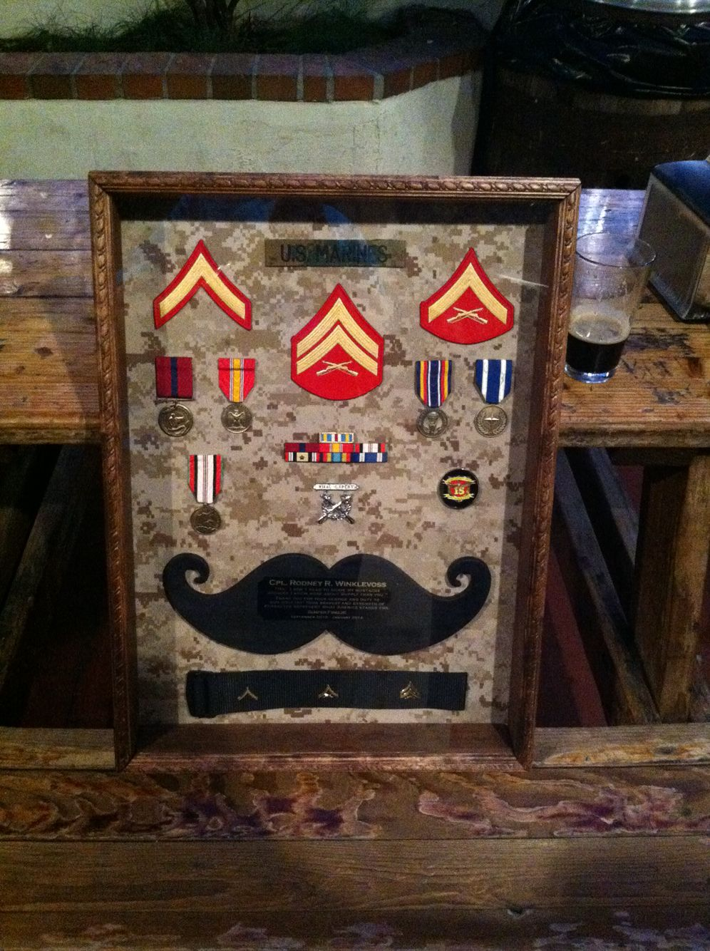 Usmc Military Shadow Box Plaque For A Corporal Who Got Out