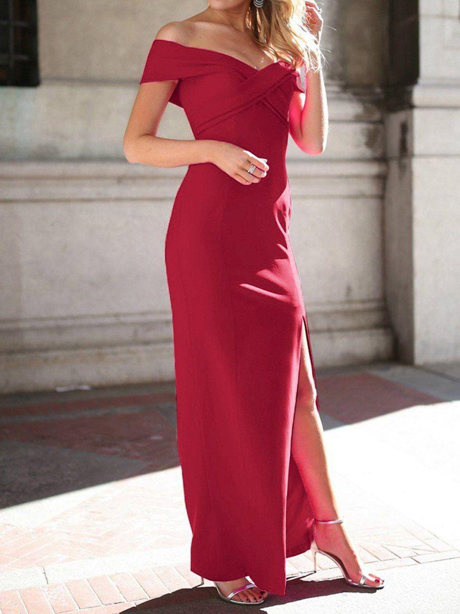Buy Women S Evening Dress Slash Neck Solid Color Short Sleeve Split Maxi Long Dress Evening Dresses At Jolly Dresses For Teens Summer Evening Dress Dresses [ 1200 x 900 Pixel ]