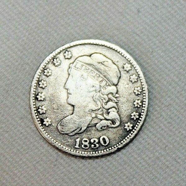 Antique 1830 Capped Bust Half Dime 5 Cents Cent Us Coin 89