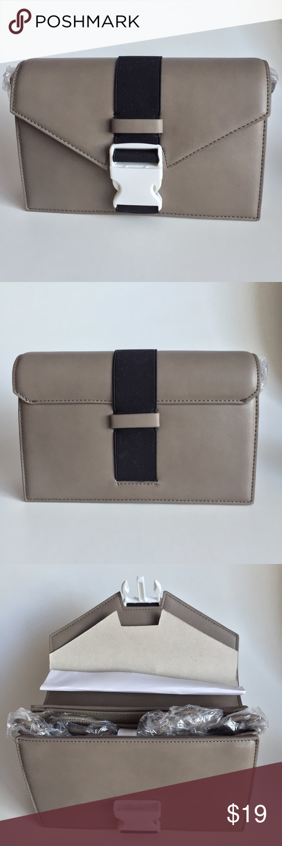 """Gray Purse with Plastic Buckle Detail Company: LAP (Los Angeles Project) Size: Please see measurements MADE IN CHINA/KOREA Fabric: 100% Polyester ••• Width: 9"""" Height: 6 1/4"""" Depth: 2"""" ••• - The purse is completely new but has a small scratch on the back. The purse comes with straps. ••• #clutches #bags #purses #graypurses #cute #fall #backtoschool Bags Mini Bags"""