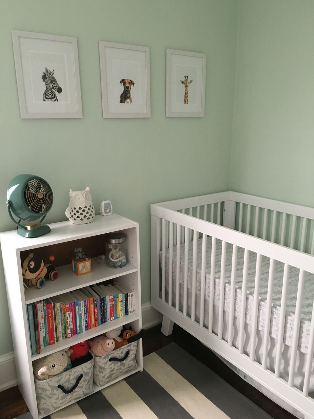 Our Nursery Paint Color Benjamin Moores Bath Salts Little Darlings Prints And A Homemade One