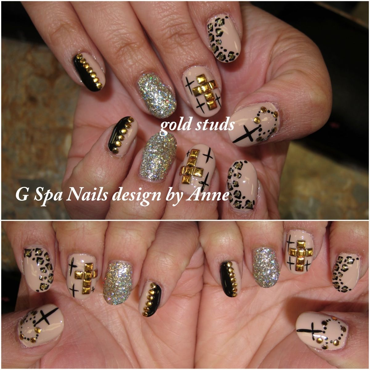 Gold Cross Nail Stud Designs Nails Designs Pinterest Cross