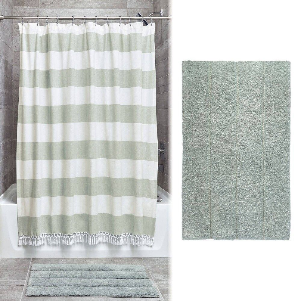 Wide Stripe Fringe Shower Curtain And Plush Rug Set Green