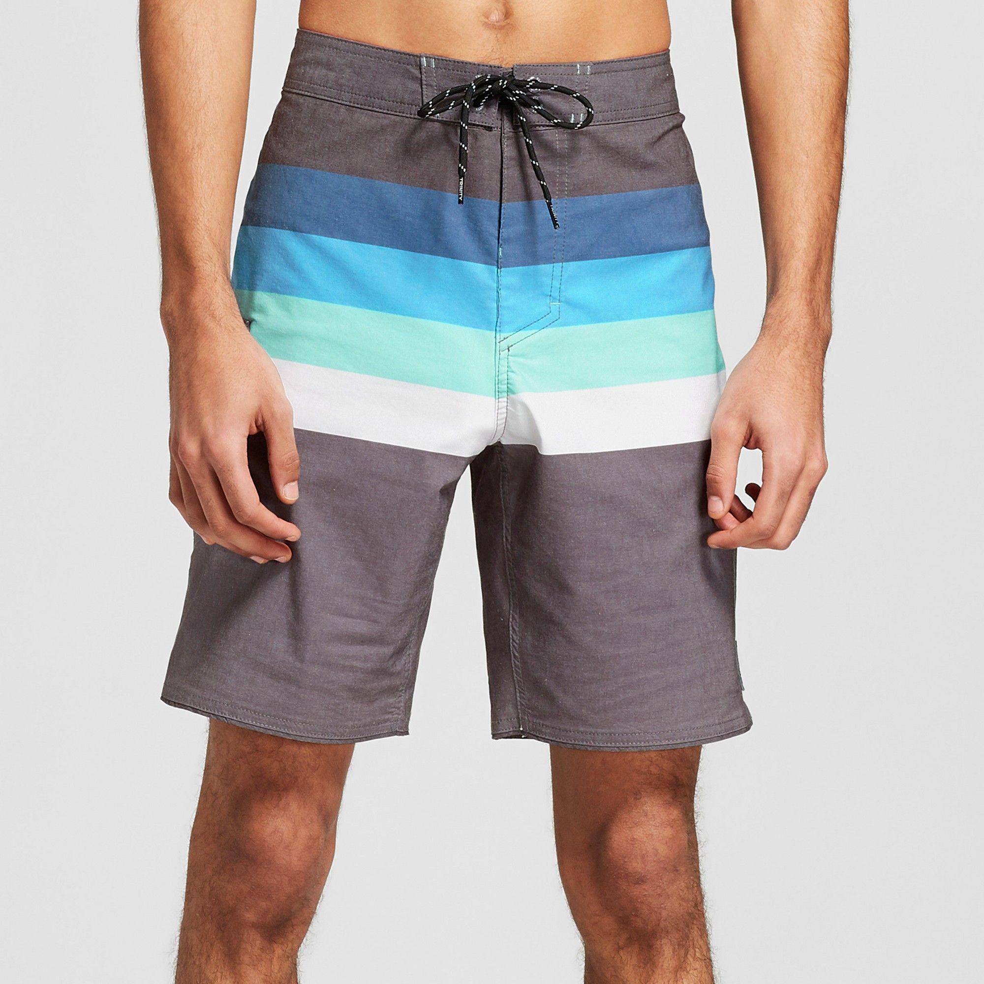 31931d702d Men's 8.5 Striped Vector Scallop Board Shorts - Trinity Black 36 ...