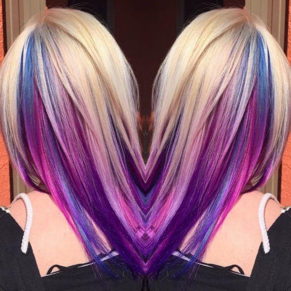 Foto Trick Ihres konservatives Büro mit diesem Underlights Rainbow Hair Trend #frisuren2020mitpony
