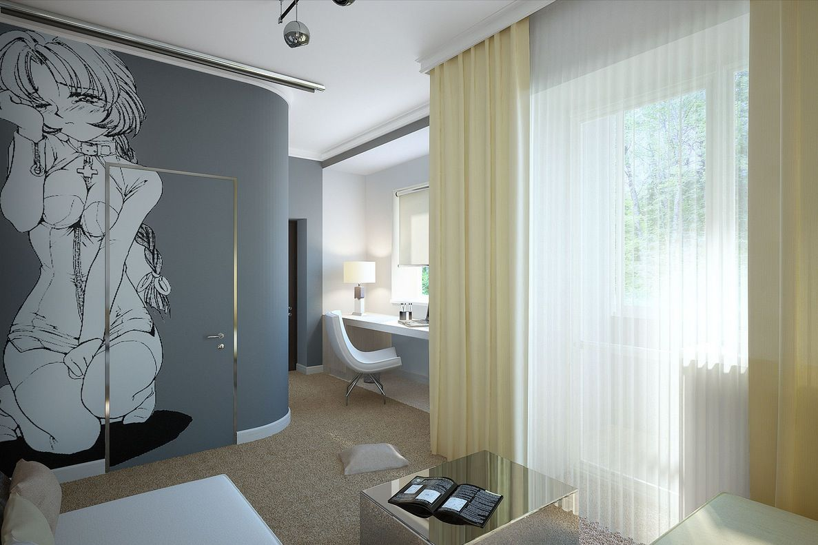 Bedroom Designs Curtain Manga Wall Mural All Two