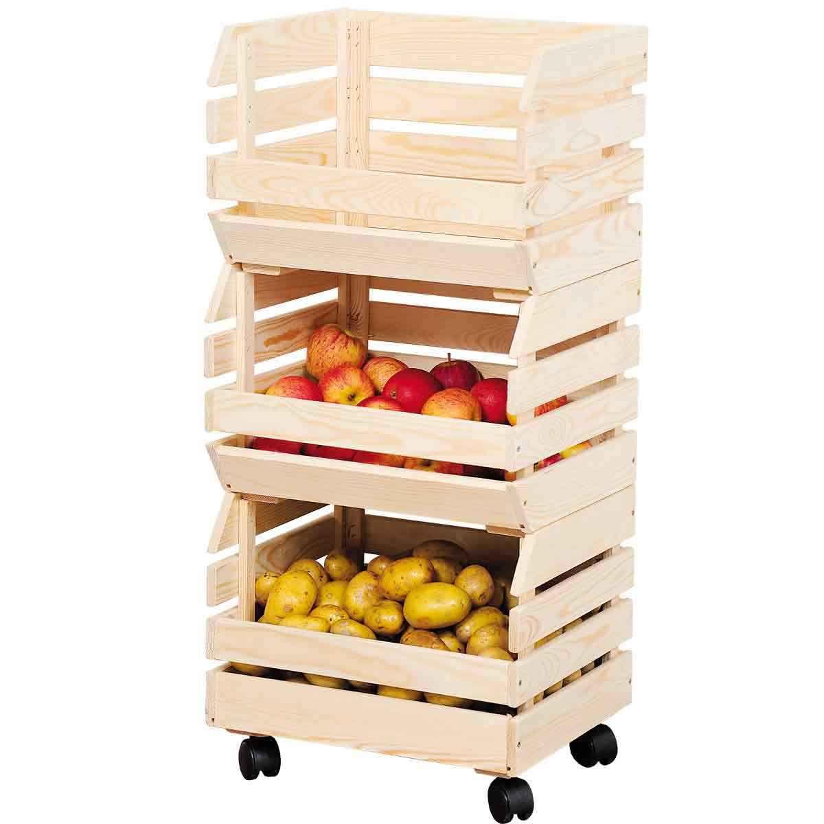 Cagettes sur roulettes - Meuble de rangement fruits & légumes