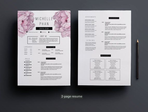 2 page CV   2 page resume template cover letter by ChicTemplates - 2 page resume template