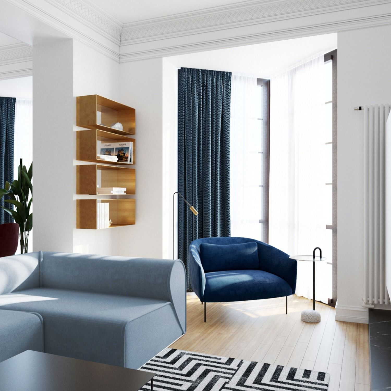 This apartment is designed for a young couple, that appreciates classic elements. The homeowners had a desire to have a timeless design furnished with contemporary furniture. The idea of giving a touch of gold to the apartment was to emphasize the elegance of the apartment.  #apartment #downtown #modern #chic #golder #design #interior #apartmentdesign #livingspace #diningroom #arch #archfreak