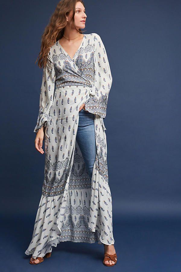 344e79db3750 NWT ANTHROPOLOGIE PAISLEY WRAP KIMONO DRESS ONE SIZE FITS ALL #Anthropologie  #WrapDress