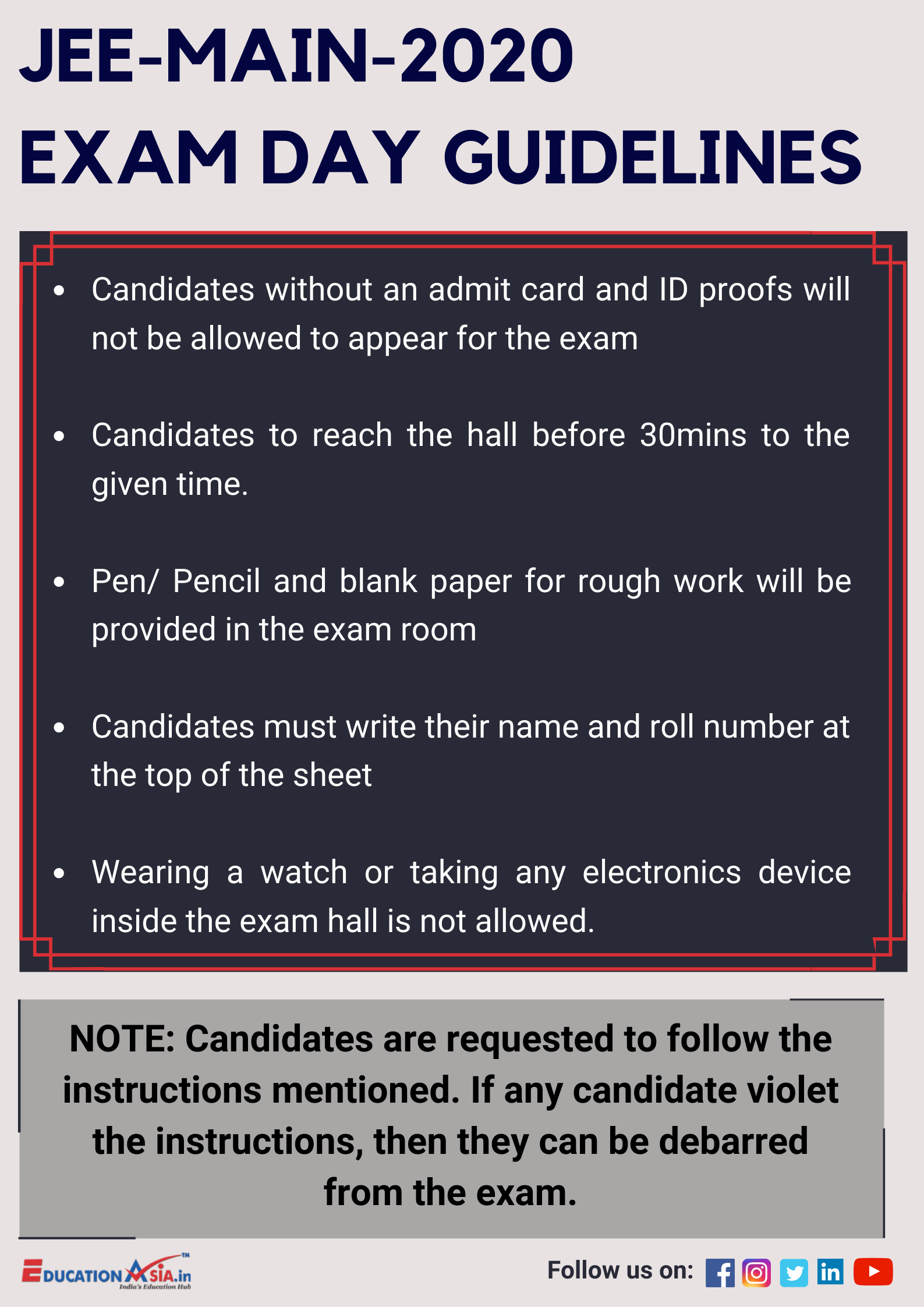Jee Main Exam Day In 2020 Exam Day Exam Entrance Exam