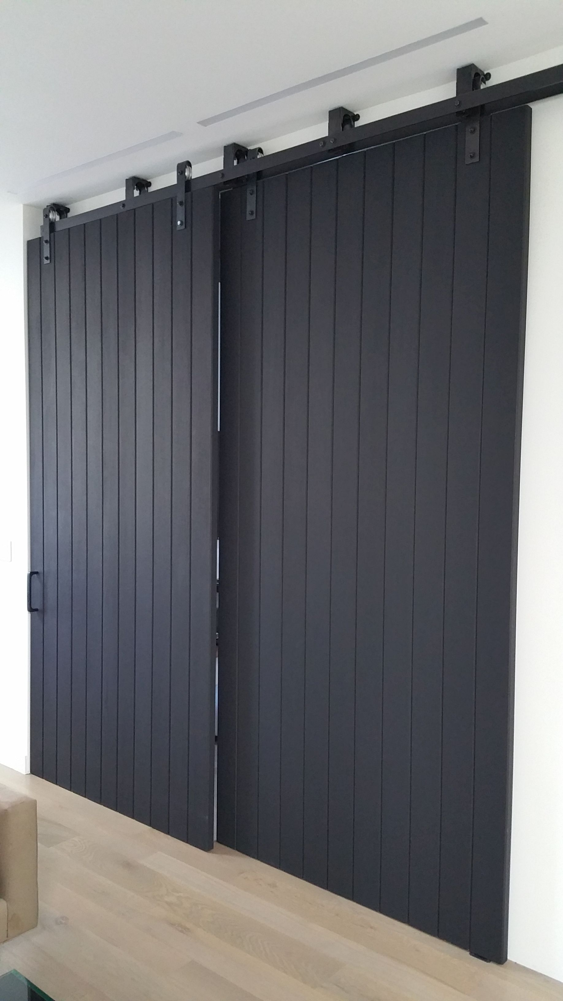 Black Oak Double Sliding Barn Doors Home Inside Barn Doors Barn Door Sliding Door Large Slidin Sliding Doors Interior Wood Doors Interior Interior Barn Doors