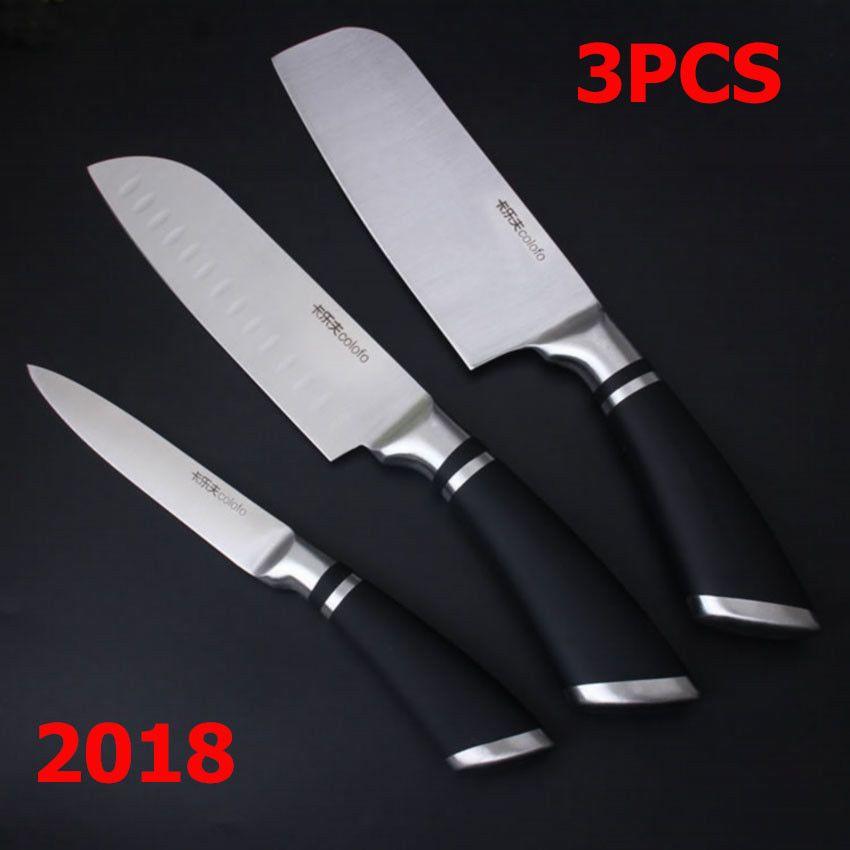 New Kitchen Knife Chef Knives Set 3 pcs Slicing Santoku Damascus Stainless Steel #Unbranded