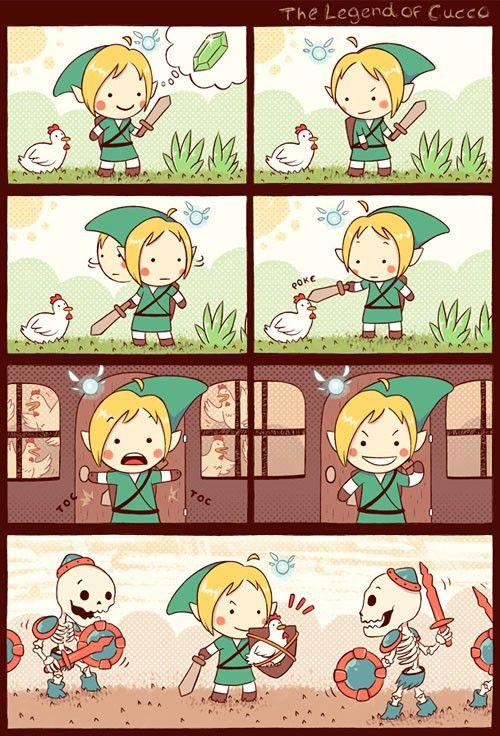 Link, Navi the fairy, Cuccos (chickens), and Stalfos - The Legend of Zelda: Ocarina of Time; funny comic The Legend of Cucco