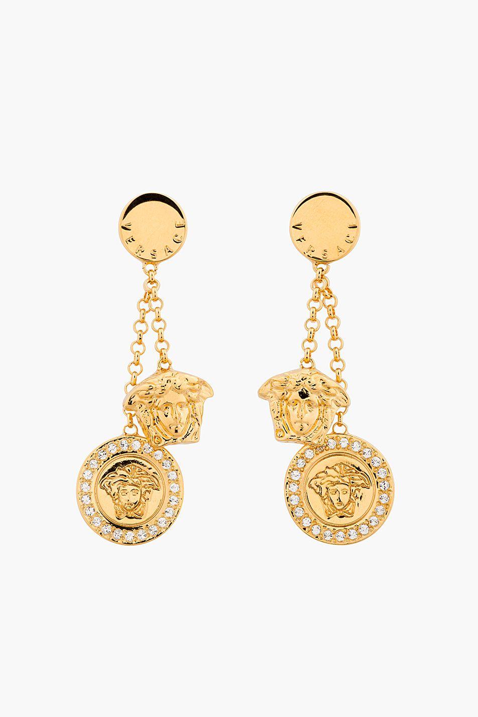 9ed688f95fbe VERSACE Gold   Crystal Medusa Charm Earrings Or Versace, Méduse, Bijoux De  Femmes,