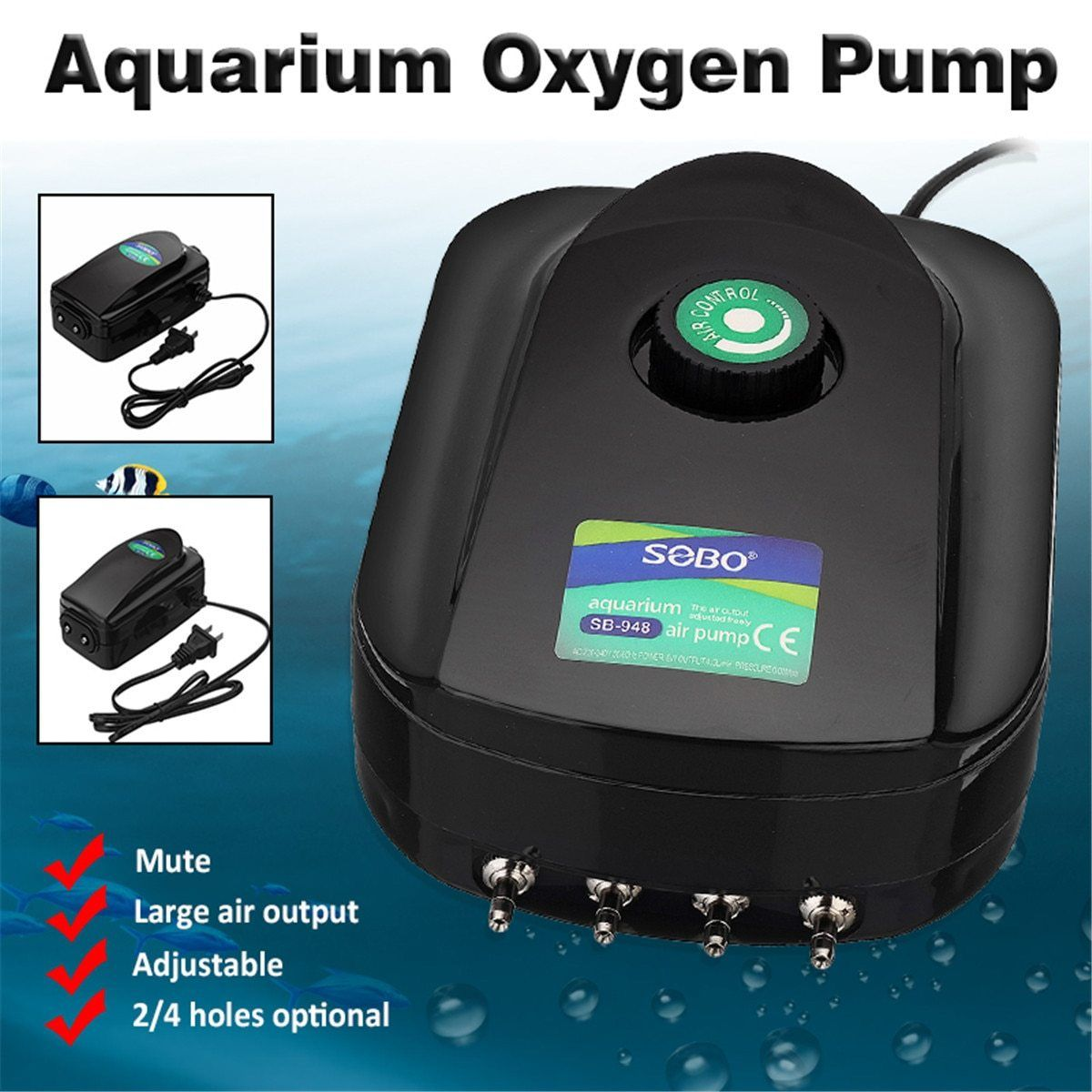 UltraSilent Aquarium Air Pump Adjustable Large Air Output