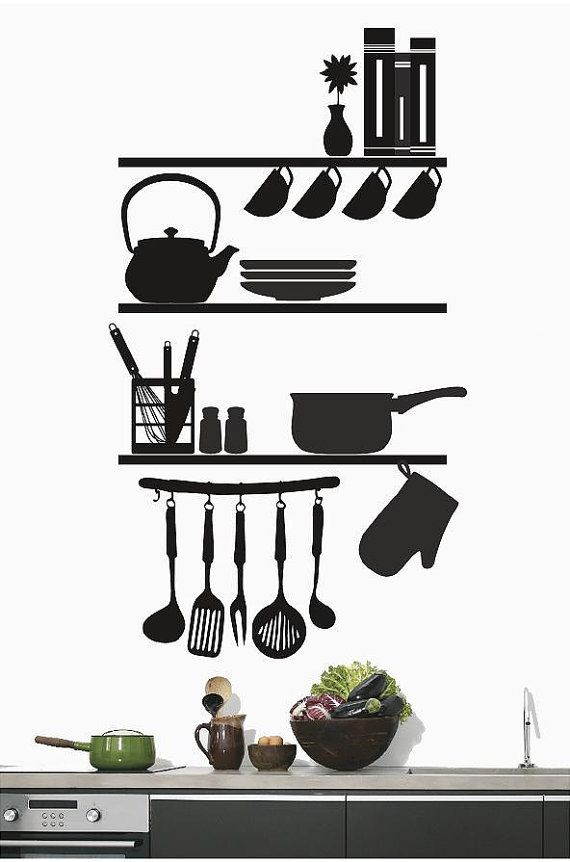 kitchen shelves utensils wall decal kitchen decor abstract art removable wall art vinyl on kitchen decor quotes wall decals id=64134