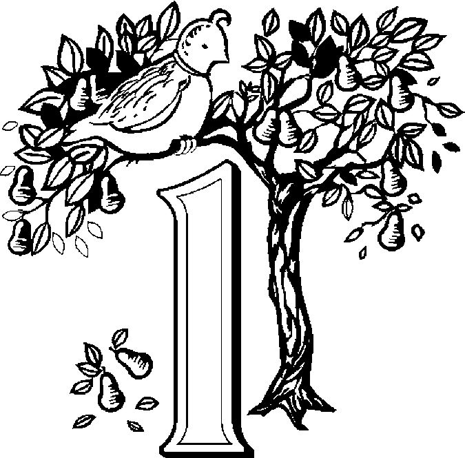01 Partridge Free Printable 12 Days Of Christmas Coloring Pages