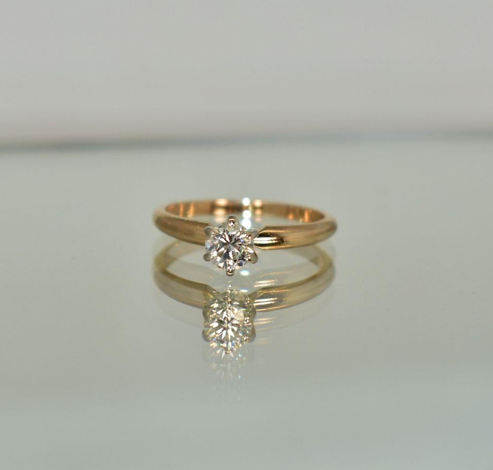 14 K Yellow Gold 45 Ct Tw J Vs1 White Diamond Solitaire Engagement Ring Size Engagement Ring Sizes Solitaire Engagement Ring Diamond Solitaire Engagement Ring
