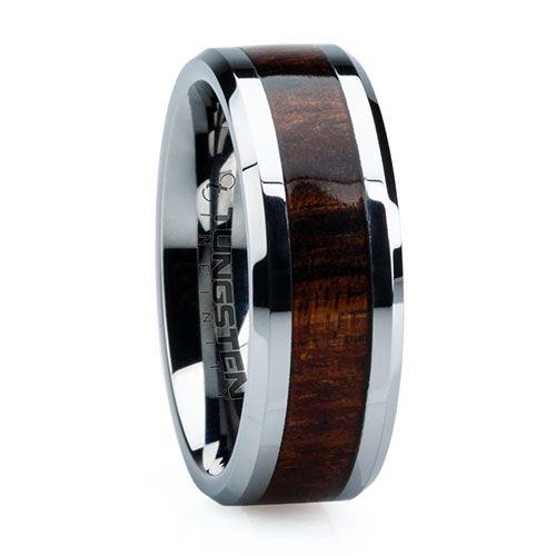 8 Mm Unique Mens Wedding Bands In Titanium With 4 Hawaiian KOA Wood Inlay