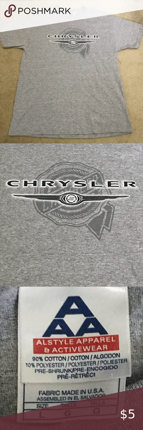 3 10 Chrysler Gray Short Sleeve T Shirt Chrysler Logo In Black And White On A Gray Short Sleeve Black Short Sleeve Tee Short Sleeve Tee Shirts Grey Shorts