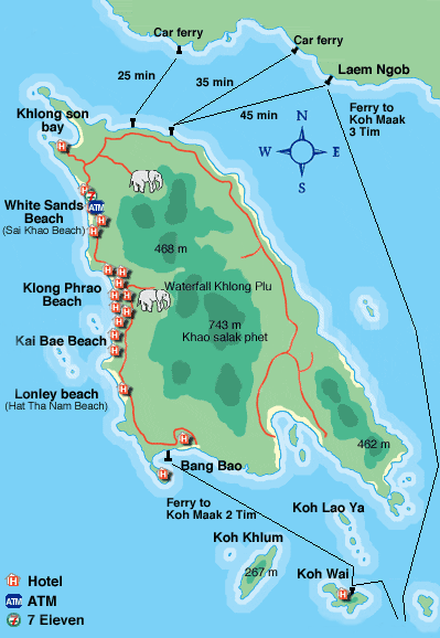 Mapa de Ko Chang la isla elefante Tailandia THAILAND Pinterest
