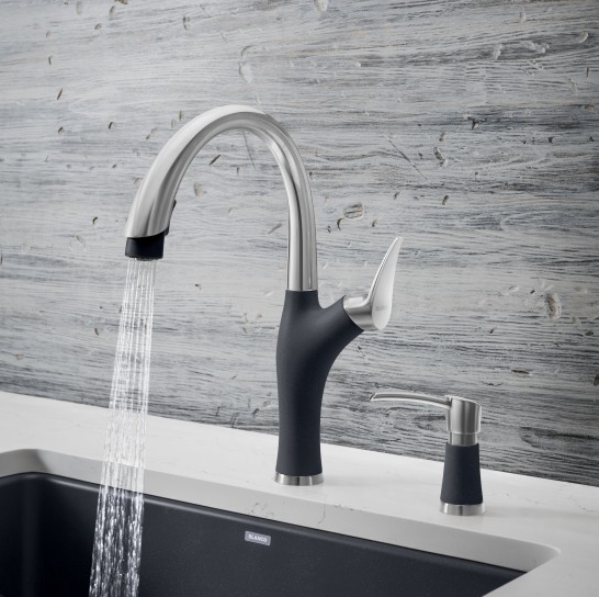 Complete The Look Of Your Sink Area By Adding A Matching Dual Finish Soap Dispenser Like The New Blanco Artona Kitchen Faucet Kitchen Faucets Pull Down Faucet