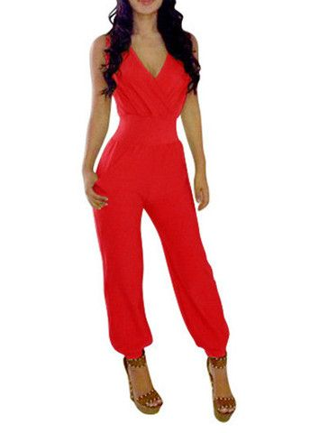 0813f055cfe Ladies Jump Suit - Red. Sleeveless V Neck Red Ankle Length Jumpsuit ...