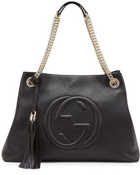 e8a26e40f89c Gucci Soho Leather Medium Chain-Strap Tote, Black on shopstyle.com ...