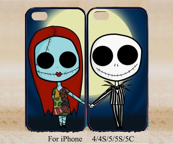 The Nightmare Before Christmas Sally and Jack Double Cases, iPhone 4/4s/5/5s/5C, Samsung Galaxy S2/S3/S4/S5/