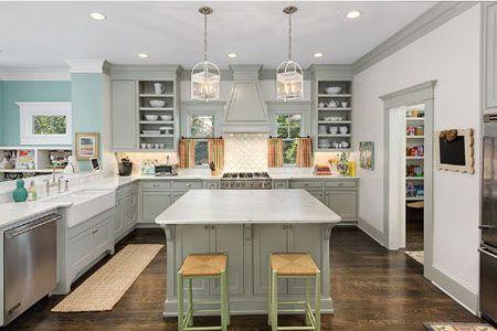 white kitchen, light gray cabinets, wood floor, light wood stools (Sherwin Williams, Upward)