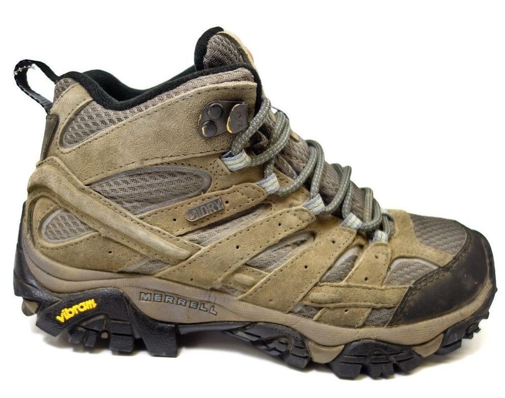 bae0628e625 Merrell Womens Moab 2 Mid Hiking Waterproof Granite Athletic Boots ...