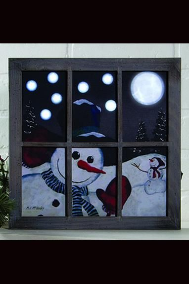 Lighted Large Happy Snowman Framed