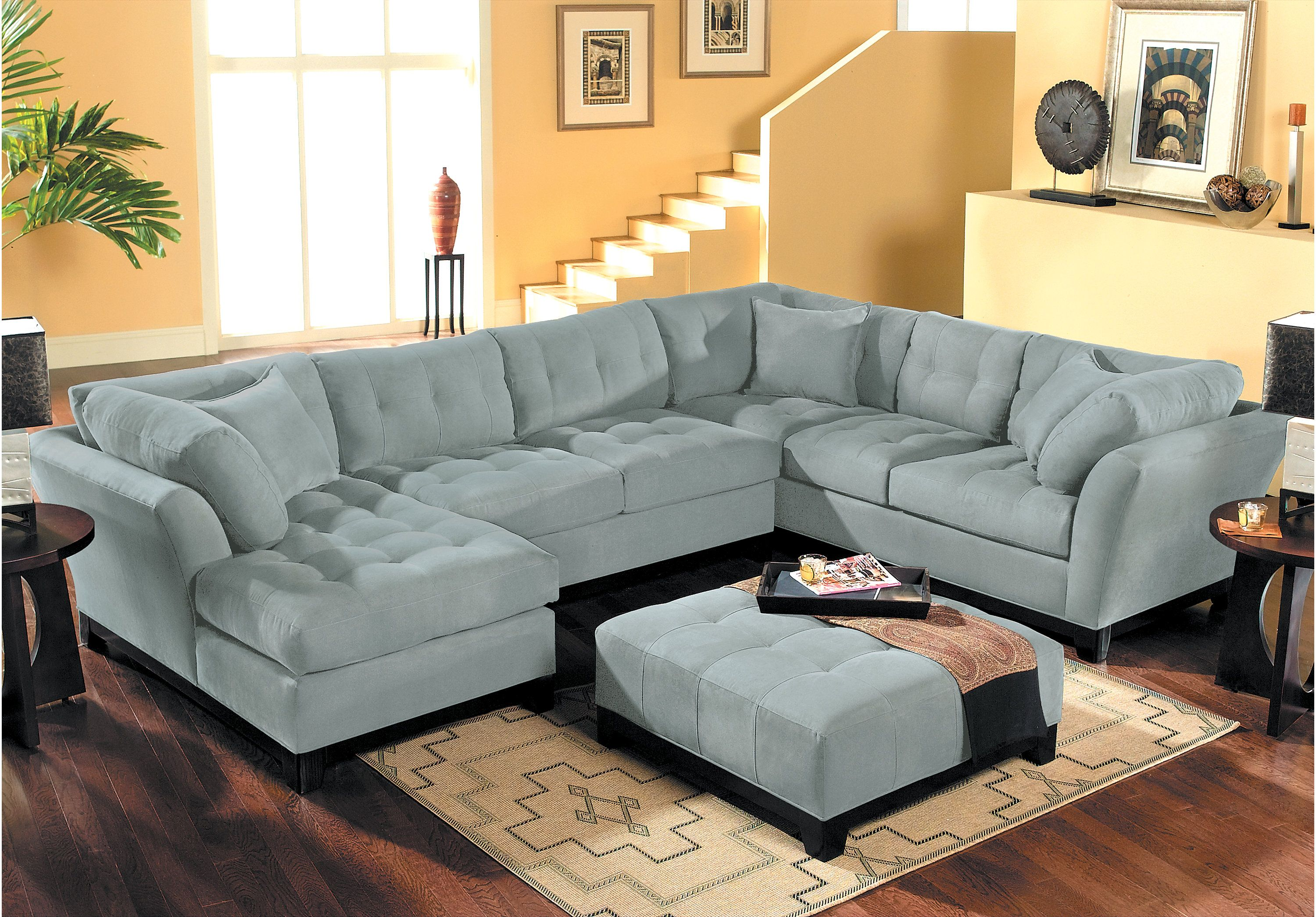 Cindy Crawford Metropolis Hydra 3pc Sectional Sectionals Blue