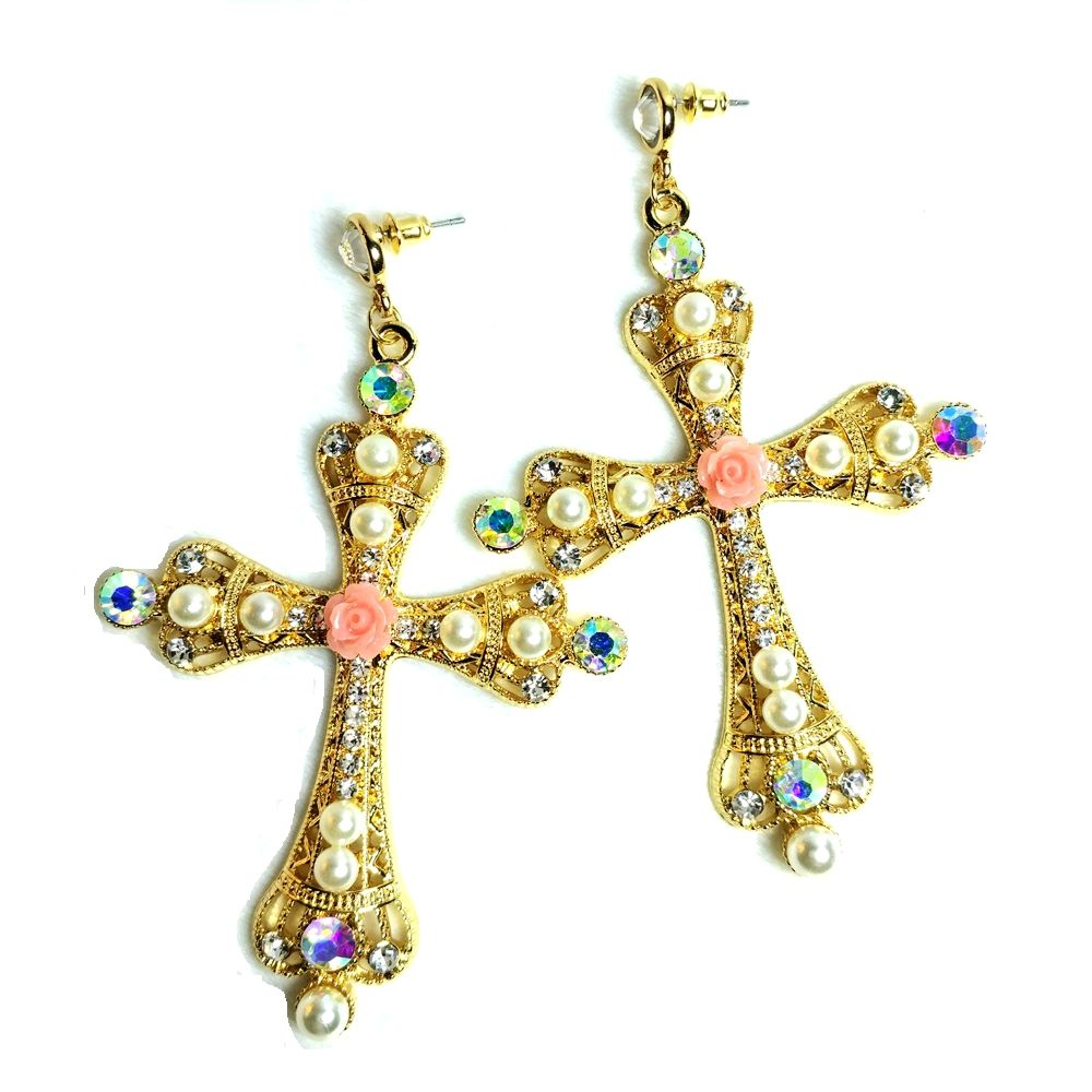 Find More Drop Earrings Information About Byzantine Faux Mini Pearls Ornate Large Statement Cross Gold