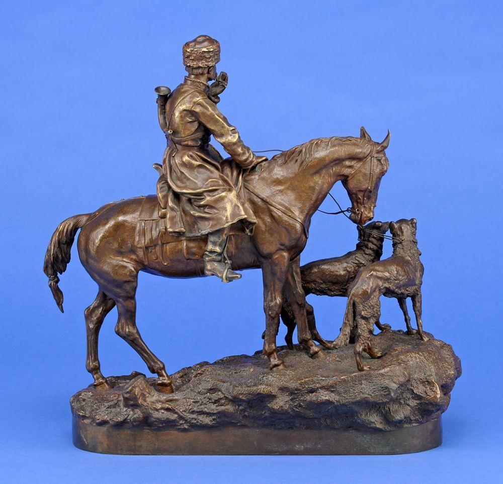Gratchev, Vassily Yacovlevitch 1831 Berestjanki - 1905 St. Petersburg Jäger zu Pferd mit zwei Ba — Skulpturen, Möbel, Kunsthandwerk