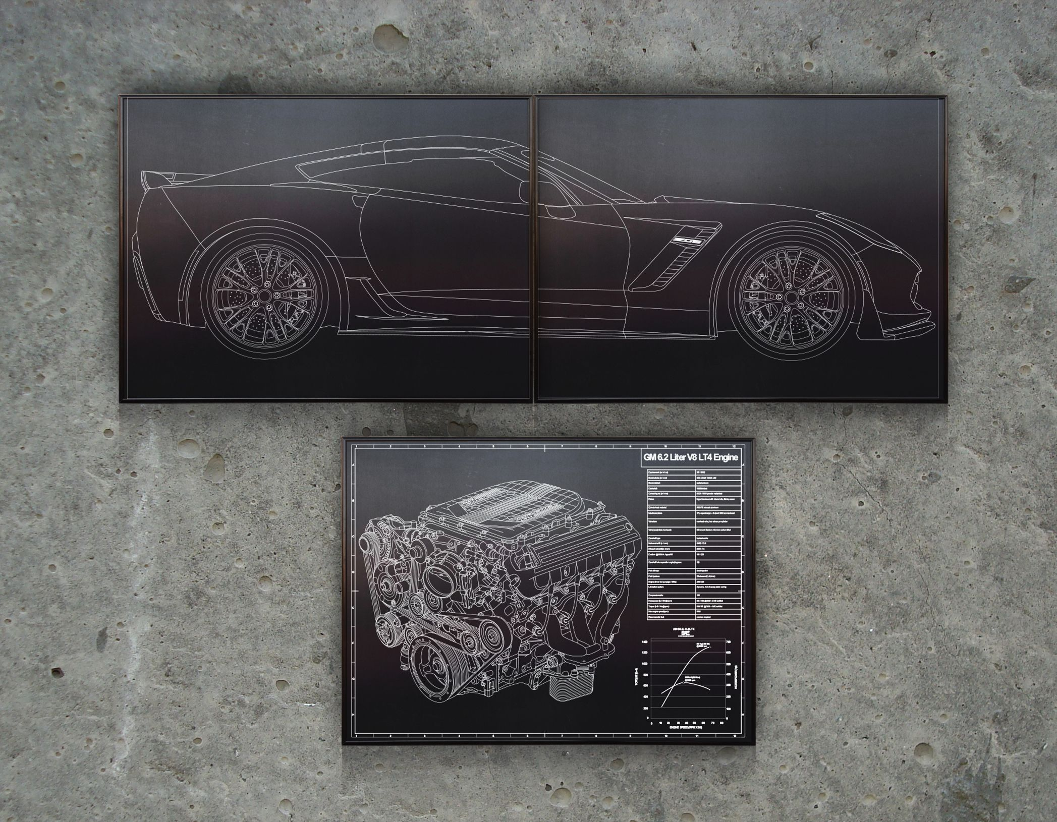 Corvette c7 z06 laser engraved blueprint art laser engraved engraved blueprint art specializes in custom drawn and laser engraved blueprint dcor for your garage man cave business or office auto art plane art malvernweather