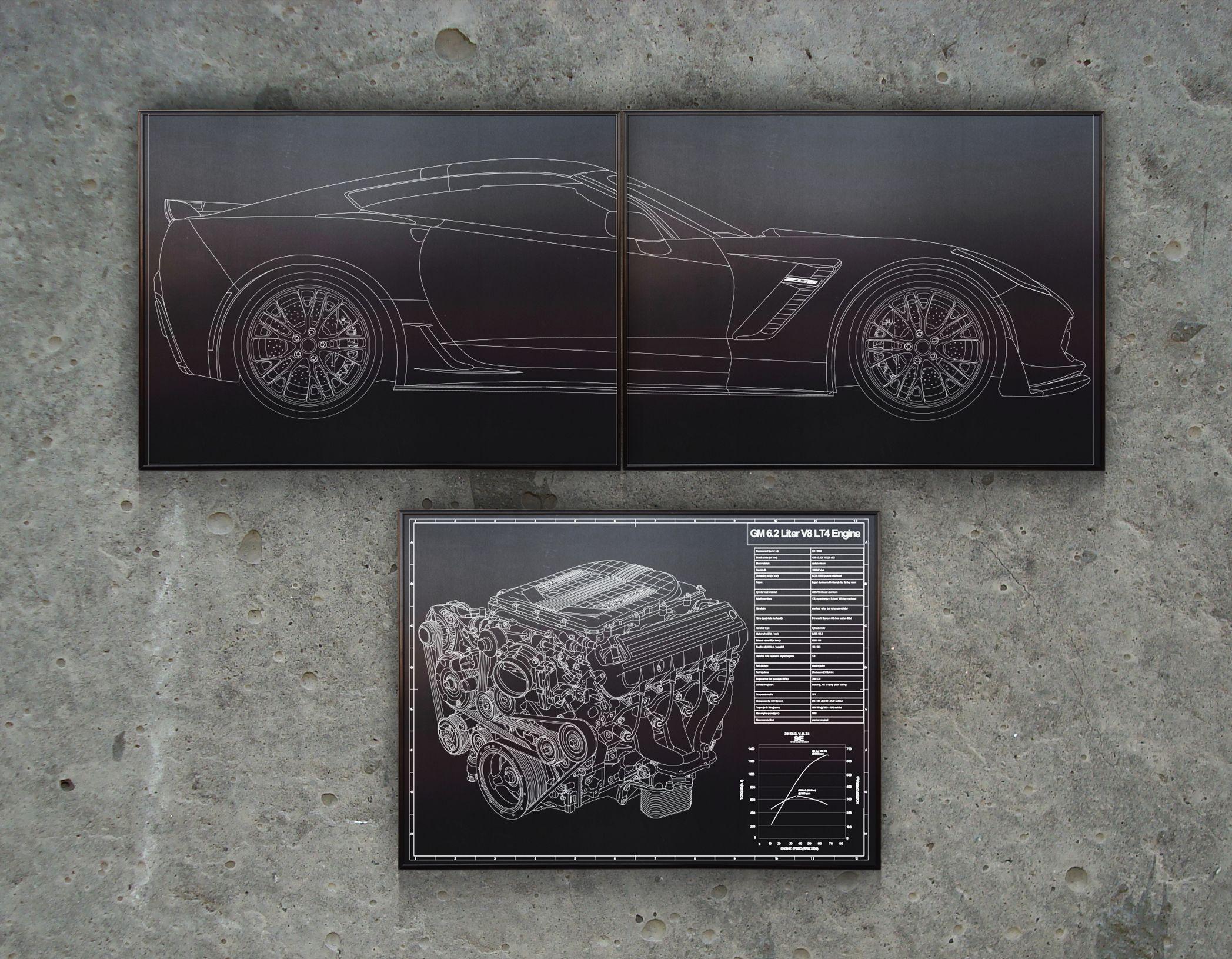 Corvette c7 z06 laser engraved blueprint art laser engraved corvette c7 z06 laser engraved blueprint art malvernweather Images