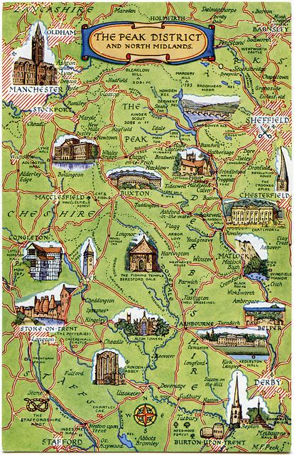 Postcard Map Of The Peak District And North Midlands England And
