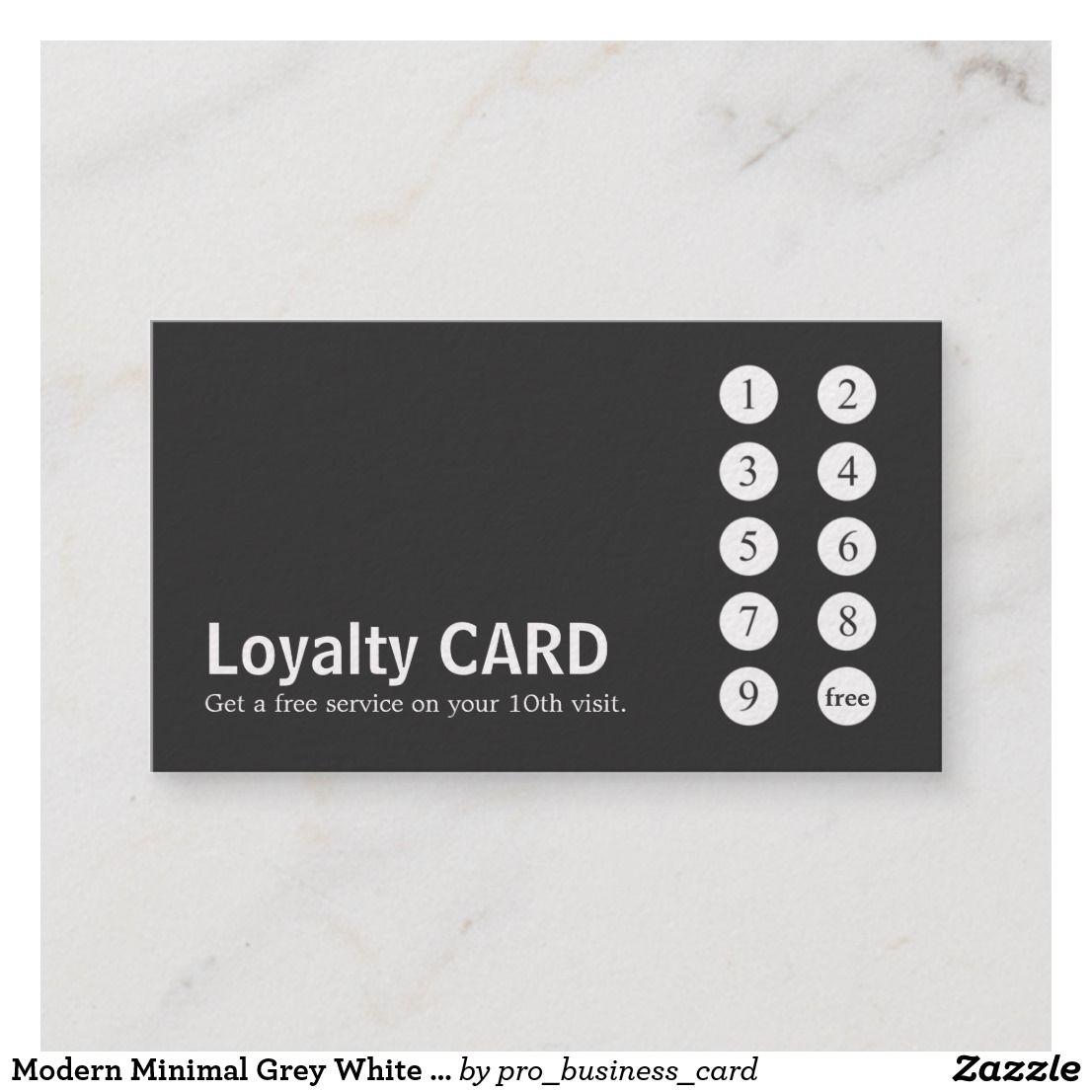 Modern Minimal Grey White Salon Punch Loyalty Card Zazzle Com