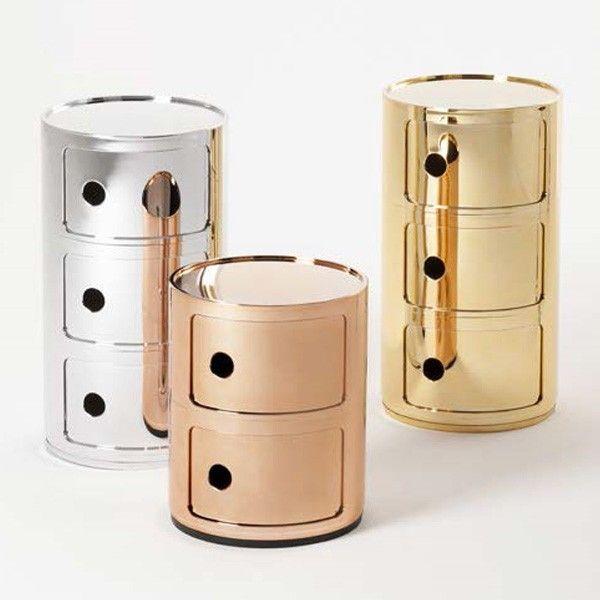table de chevet ou d'appoint chromé or ou cuivre componibili