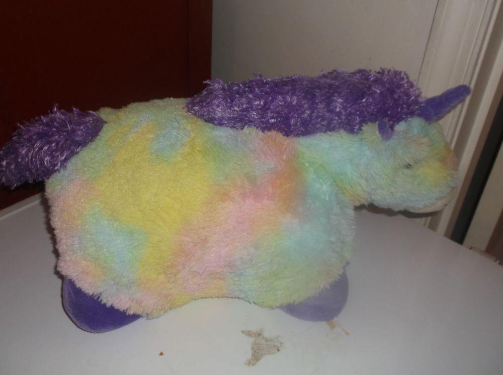 """Pillow Pets Glow Pets Unicorn 16"""" Pastel Rainbow Colors"""