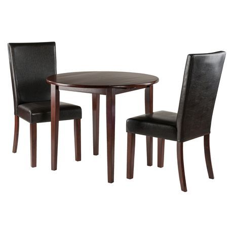 Winsome Clayton 3 Pc Set Drop Leaf Table With 2 Chairs Walnut Drop Leaf Table Drop Leaf Dining Table Leaf Table