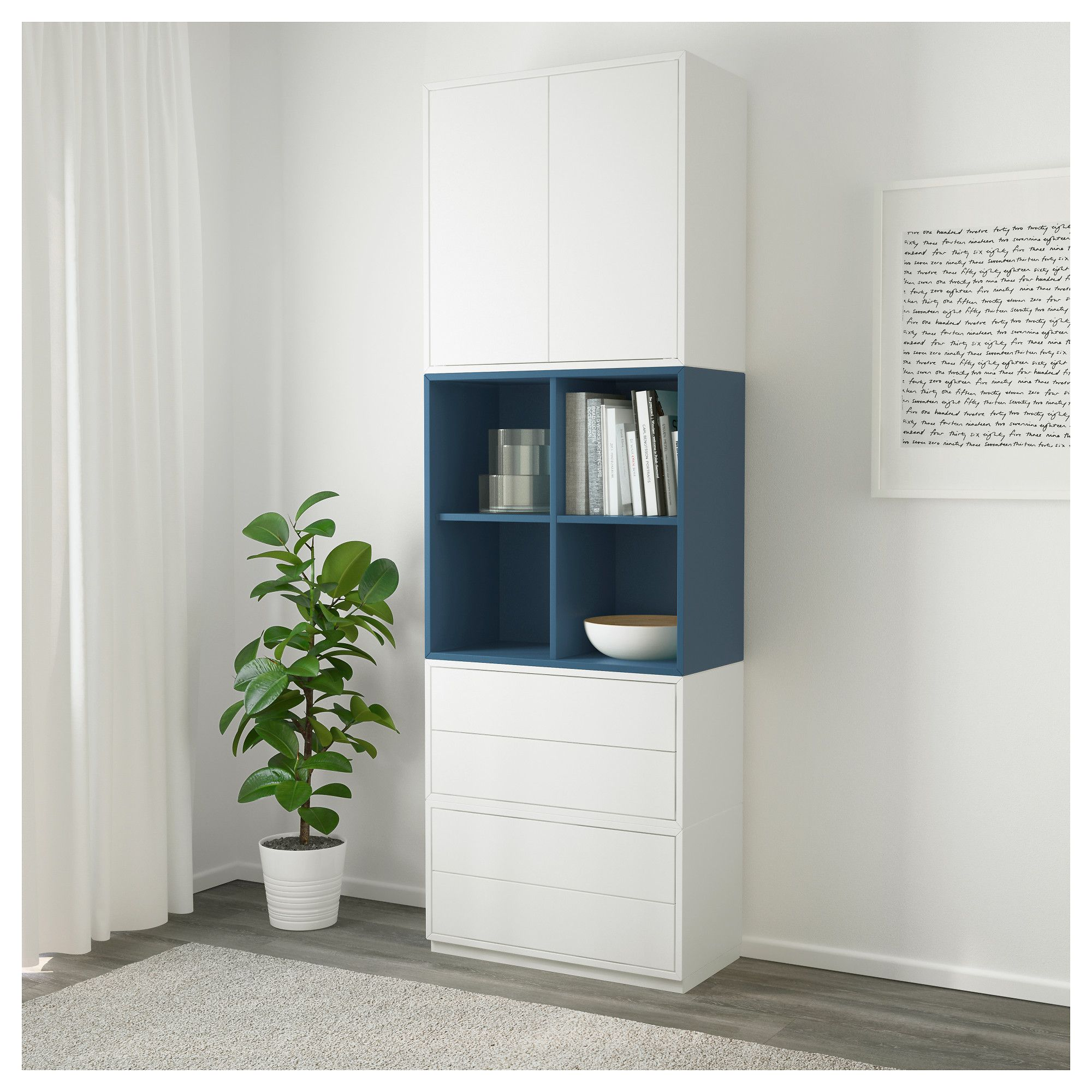 Muurkast Ikea Eket Storage Combination With Base Frame White Dark Blue In 2019
