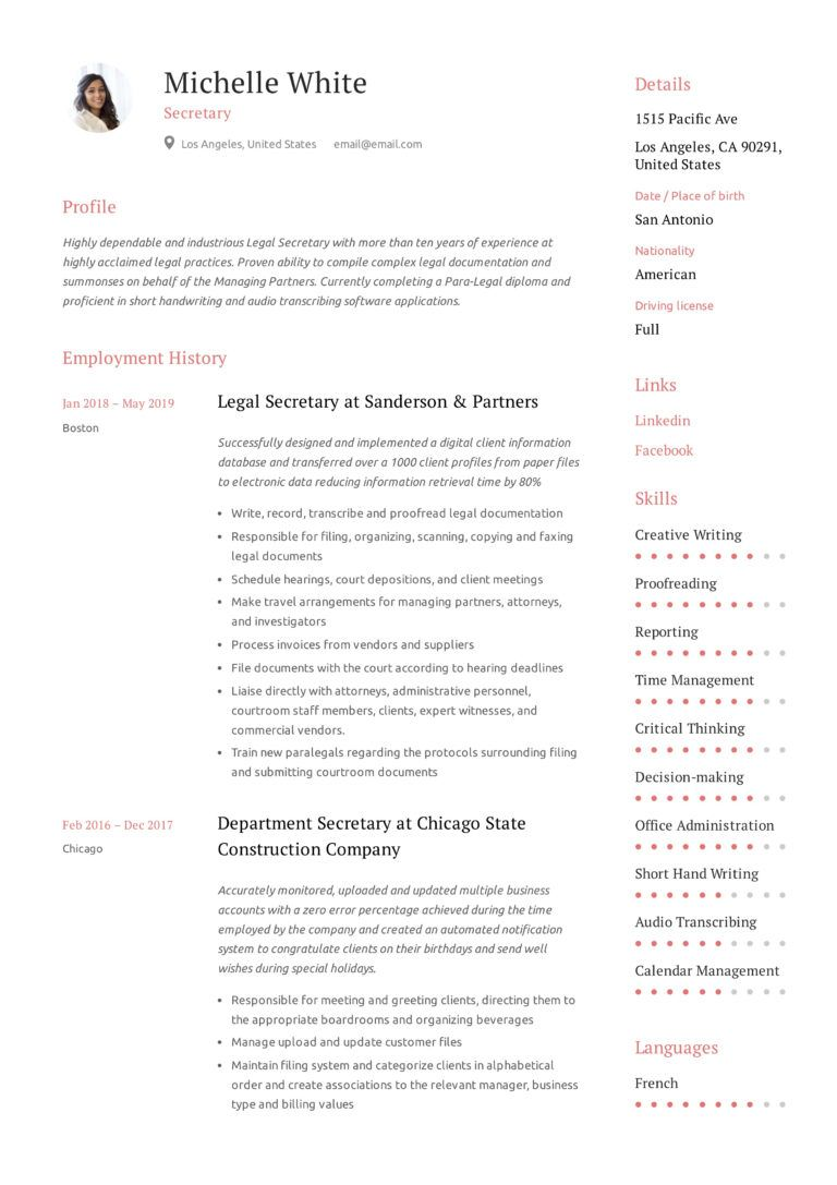Secretary Resume & Writing Guide in 2020 (With images