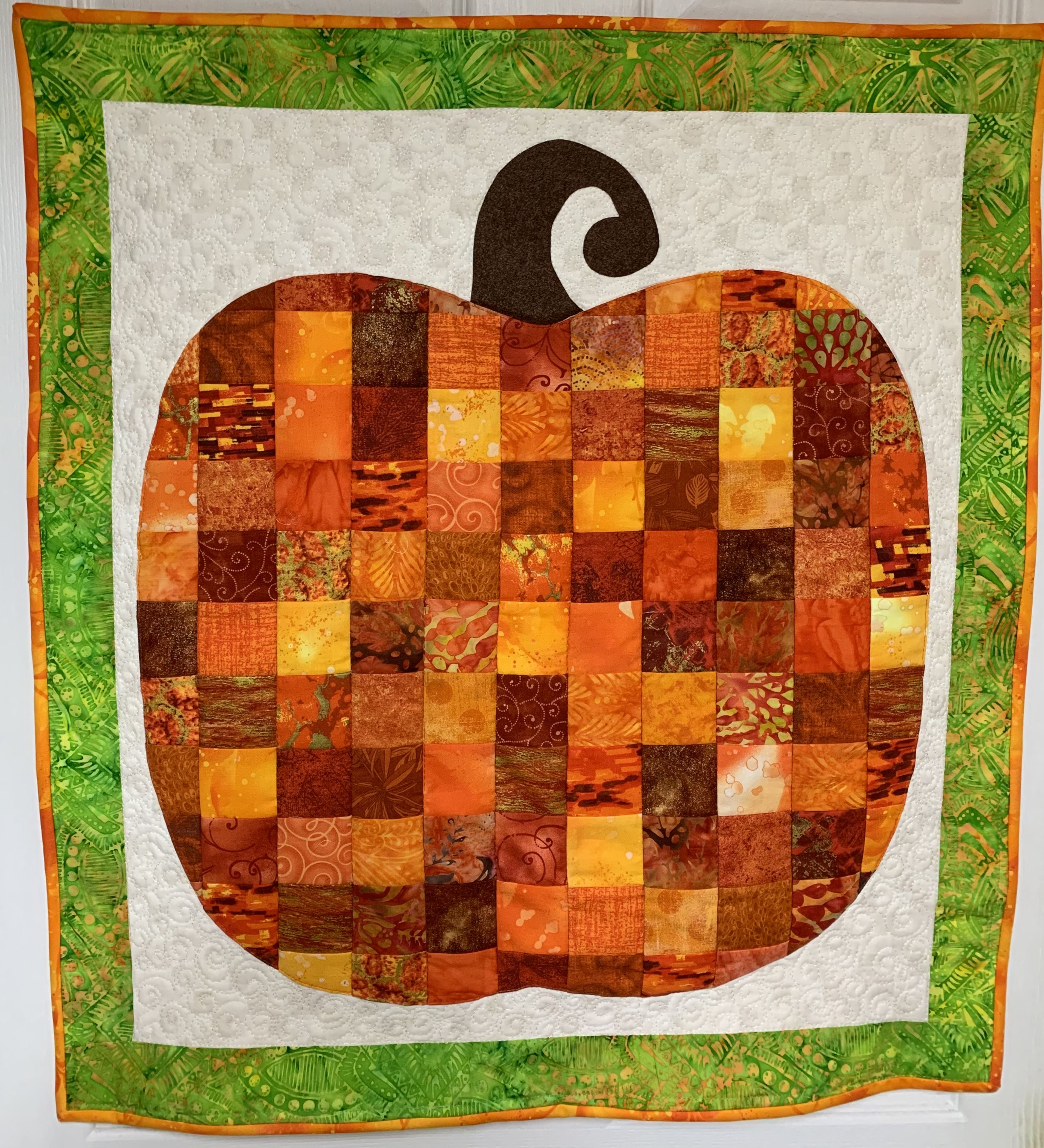 Autumn Pumpkin With 2 1 2 Inch Squares 31x31 2019 Quilted Wall Hangings Fall Pumpkins Wall Hanging