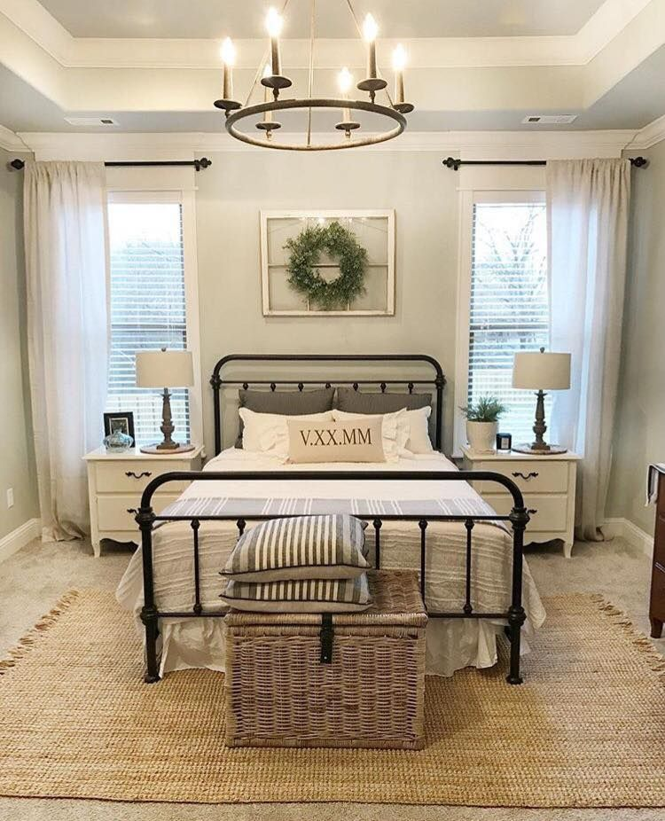 Black Wrought Iron Bed With Images Farmhouse Style Master
