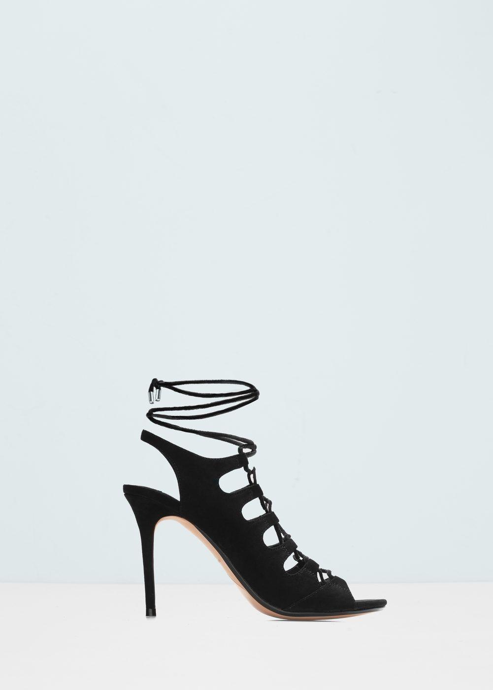 sandales lacées ouvertes à l'arrière | arriere, chaussures pour
